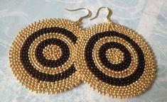 Beaded Disk Earrings - Big Bold Black and Gold Goddess Seed Bead Earrings - Beaded Jewelry by WorkofHeart on Etsy Bar Stud Earrings, Big Earrings, Seed Bead Earrings, Beaded Earrings, Seed Beads, Beaded Jewelry, Crochet Earrings, Thread Bangles Design, Thread Jewellery