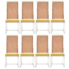 Set of Eight Milo Baughman for Thayer Coggin Armless Dining Chairs in Chrome, Cane and Upholstery ca 1970.