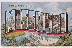 Missouir large letter greeting vintage postcard