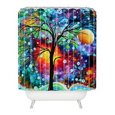 Add a dash of fun to your bathroom with the colorful Madart Inc. A Moment in Time Shower Curtain. This artistic and inventive curtain features a look at a breathtaking scene featuring a tree and orange amid a vibrant background.