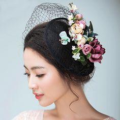 Flax Satin Fascinators Hats Headwear Birdcage Veils with Floral Wedding Special Occasion Headpiece Wedding Hats, Headpiece Wedding, Kentucky Derby, Sombreros Fascinator, Satin, Silk Organza, Floral Fascinators, Wedding Accessories, Live Action