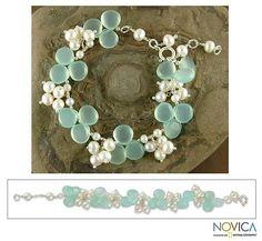 Pearl and chalcedony beaded bracelet, 'Island Paradise' - Pearl and Chalcedony Bracelet Indian Artisan Jewelry