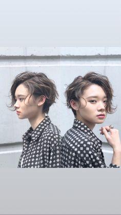 Pin on スタイル Short Hair Undercut, Long Pixie Hairstyles, Short Curly Hair, Short Hair Cuts, Cool Hairstyles, Asian Short Hair, Asian Hair, Girl Short Hair, Medium Hair Styles