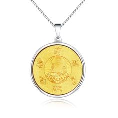Modyle Gold Plated Vintage 6 Mantras Buddha Necklace Pendants Stainless Steel Jewelry for Women