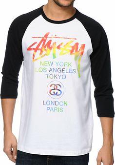 Stussy Tie Dye World Tour White & Black Baseball Tee Shirt