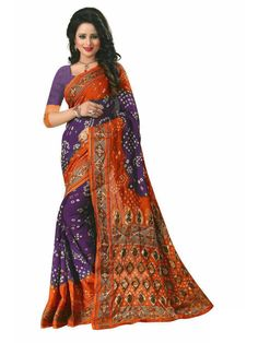 White Dotted Maroon Color Bandhani Saree with combination of coffee color.