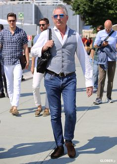 GLOBER | ジレ Denim Style, Grasses, Denim Fashion, Vests, Style Me, Casual Outfits, Menswear, Coat, How To Wear