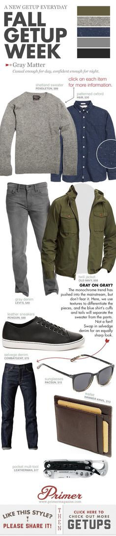 Fall Getup Week: Gray Matter - Men Jeans - Ideas of Men Jeans - Blue flecked oxford button shirt grey jeans grey crew-neck sweater olive green jacket and black sneakers. Gq Style, Mode Style, Style Men, Look 2015, Casual Outfits, Men Casual, Casual Shoes, Fall Outfits, Shoes Style