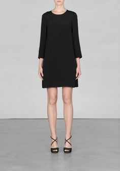 And Other Stories | Cropped sleeve viscose dress | Black