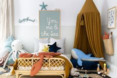 Inspirational under the sea bedroom decor for children. Giant octopus and lobster with whale soft toy. Child's rattan bed with reading canopy ideas. Sea Bedrooms, Seaside Bedroom, Scandi Bedroom, Bedroom Decor, Ocean Bedroom Themes, Lego Bedroom, Boy Toddler Bedroom, Baby Boy Rooms, Childrens Bedrooms Boys