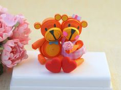 Cake topper Paper Quilled Teddy Bear by InspiringSilence on Etsy, $45.00