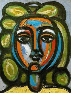 inspiration for art project? Head of a woman with green curls - Pablo Picasso Completion Date: 1946 Style: Primitivism Period: Neoclassicist & Surrealist Period Genre: portrait Technique: oil Material: canvas Dimensions: 35 x 27 cm Tags: female-portraits Kunst Picasso, Art Picasso, Picasso Paintings, Picasso Style, Paintings Famous, Indian Paintings, Georges Braque, Paul Gauguin, Art Moderne