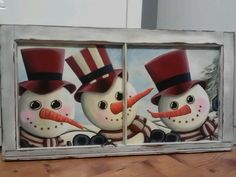 Three snowmen is a crowd! For order info email: redheadreinventions@gmail.com
