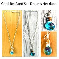 """SOLD.  Coral Reef and Sea Dreams Necklace by DiY-K-Handmade. 22"""" #Silver #necklace #chain, jump rings and lobster claw clasp closure with #handmade #faux- #seawater and #coral pieces sealed in #miniature #corked #glass #potion #bottle #pendant. #gifts #giftsforher #quality #handcrafted #craftsmanship #craftswomanship #handmade #jewelry #giftshop #jewelryshop #jewelrymaking #blues"""