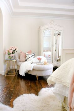 Welcoming Fall Home Tour 2017 - Glam Fall Bedroom - Randi Garrett Design. white master bedroom with chaise lounge