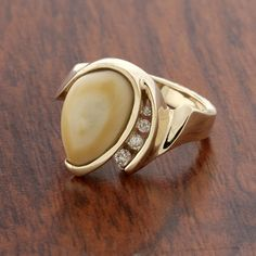Elk Ivory/Tooth Ring Mounting in White Gold by ParkCityJewelry Elegant Wedding Rings, Ivory Wedding, Hunting Wedding Rings, Elk Ivory, Ring Designs, Fine Jewelry, Rings For Men, White Gold, Jewels