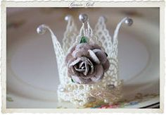 Smoky Gray Rose Newborn Lace Crown with Pearls-newborn, lace, crown, tiara, handmade, custom boutique, prop, photo, photos, photography, props, infant, girl, rose, gray, shabby, baby, girls
