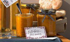 rezept-Kürbis-Humus Chutneys, Pesto, Dips, Cravings, Food And Drink, Bottle, Low Carb, Camping, Humus Recipe