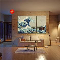 LARGE 3 or 5 panels / boards tryptich wrapped stretched The Great Wave off Kanagawa by Katsushika Hokusai Canvas print Art fine art wall art
