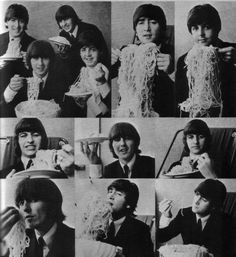 The Beatles eating spaghetti - not sure why I'm pinning this. But I like them, like ALOT.
