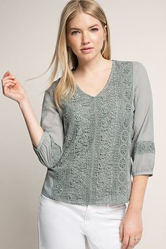 Esprit / Delicate blouse with crocheted lace