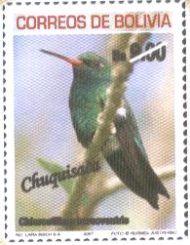 Filatelia: Aves de los Departamentos Bolivianos (1): Chlorostilbon mellisugus