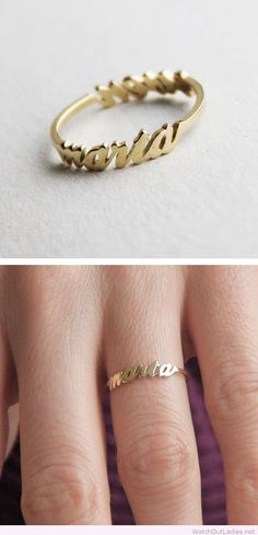 Golden two name ring