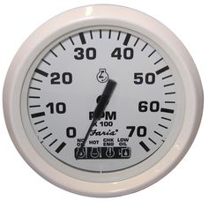 "Faria Dress White 4"" Tachometer w/Systemcheck Indicator - 7,000 RPM (Gas - Johnson/Evinrude Outboard) - https://www.boatpartsforless.com/shop/faria-dress-white-4-tachometer-wsystemcheck-indicator-7000-rpm-gas-johnsonevinrude-outboard/"