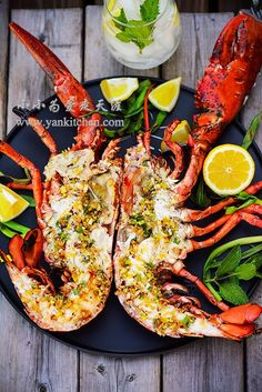 Grilled Split Lobster With Lobster Butter Garlic Green Onions Chili Peppers Lemon Freshly Ground Black Pepper Sea Salt Grilled Lobster Recipes, Grilled Seafood, Fish And Seafood, Shellfish Recipes, Seafood Recipes, Cooking Recipes, Healthy Recipes, Lobster Dishes, Seafood Dishes