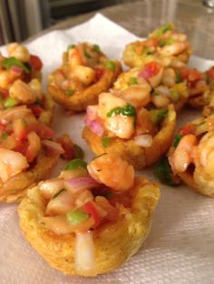 Shrimp Ceviche in plantain cups.