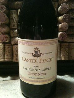 """castle rock pinot noir 2009: my go - to wine... Just plain good (and inexpensive). Love it with almost everything~. It pops up all over """"Best Of"""" lists for its classy vibe and elegant taste, but also for its price point: 12 bucks. It's a fruity one, so this will be your wine to entice red non-believers."""