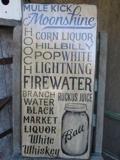 Primitive Wood Sign MoonShine Corn Liquor White Lightning Man Cave Bar Pub Cabin Rustic by FoothillPrimitives on Etsy