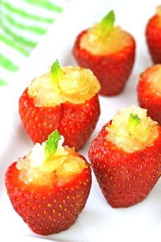 Minty lime granita strawberry cups!