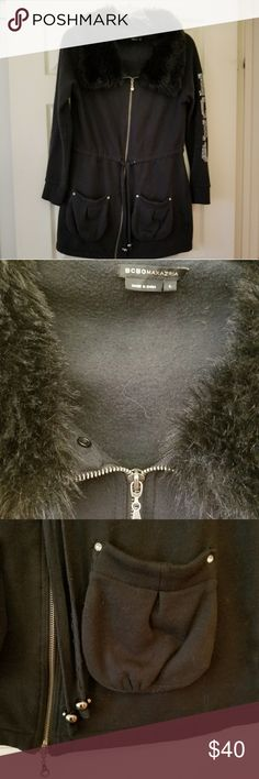 💎💎BCBG Blingy Jacket💎💎 Very bling.  Long jacket. Very thick and warm.  Faux fur collar is removable. BCBG Jackets & Coats