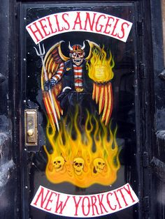 Door to the Hells Angels clubhouse in the East Village of New York City.