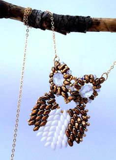 Beaded Owl Necklace / Beaded Necklace / Beaded by Ranitit on Etsy (Wow. Just freakin wow!)