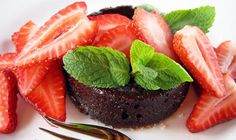 Recipe: Chocolate Pudding Cakes with Strawberries and Mint. (Follow our other boards for detox, fitness, yoga and green living tips: http://pinterest.com/gaiam)