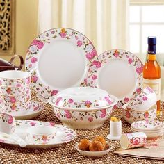 56 quality bone china dinnerware set pink marriage dishes dish