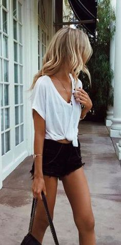 #summer #fashion / shirt + short shorts