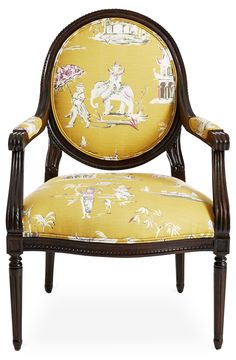 Rich in global influences, this chair has a traditional French carved exposed-wood frame, and soft cotton upholstery featuring a design of Eastern motifs. The frame is made of beech, a wood favored...