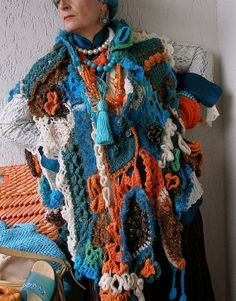 Colorful versatile unisex mixed media freeform haute-couture knitwear wrap shawl stole in brown turquoise white & orange