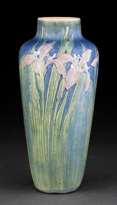 Newcomb College Art Pottery Vase | 1915 | Decorated by Alma Mason with Louisiana Irises modeled in low relief | Newcomb cipher, decorator's mark, Joseph Meyer's potter's mark, reg. no. HN13, and shape no. 180, height 11 3/4 in