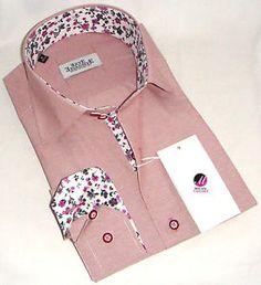 New Mens Formal Smart Italian Pink Stripes Slim Fit Floral Collar Shirt 3XL 4XL