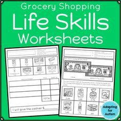 Skills Worksheets for Special Education and Autism (Grocery Store) Life Skills Worksheets for Special Education and Autism (GLife Skills Worksheets for Special Education and Autism (G Life Skills Lessons, Life Skills Activities, Life Skills Classroom, Teaching Life Skills, Autism Activities, Autism Resources, Autism Classroom, Time Activities, Math Lessons