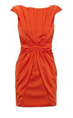 Karen Millen Colourful Satin Dress orange ,fashion  Karen Millen Solid Color Dresses outlet