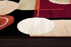 Black Burgundy Geometric Contemporary Rugs