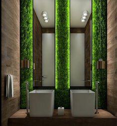 mur décoré salle de bains mousse végétale