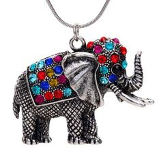 From 1.33:YAZILIND Tibetan Silver Colorful Crystal Cute Elephant Pendant Necklace