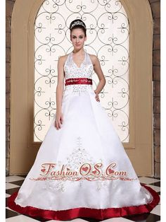 Halter Modest Wedding Dress in United States Online Beautiful Embroidery On Satin  Item Code: MLD090706FOS     mg