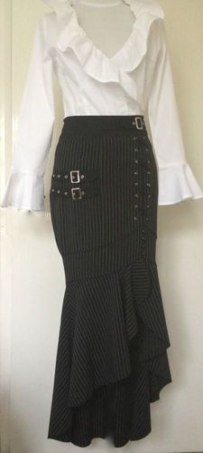 Black Gothic Punk Mermaid Fishtail Pinstripe Buckle Long Skirt | eBay